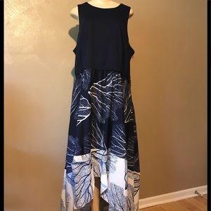 Anthropologie Hutch 2X hi-low navy dress stretchy
